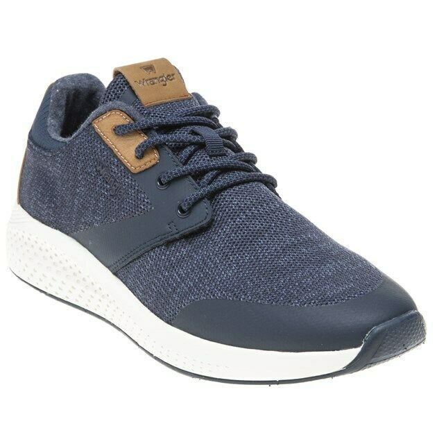 New MENS WRANGLER NAVY SEQUOIA TEXTILE Sneakers Running Style