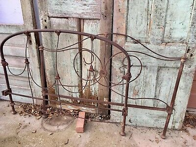 Antique Cast Wrought Iron Full Size Bed Frame Headboard