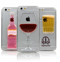Red Wine Glass Cocktail Beer Moving Liquid Case Cover iPhone 5 5c SE 6 6S 7 Plus