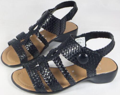 Schuhe Damen Sandalen Sandaletten schwarz Leder 36 38 39 40 41 42 Neu 2690