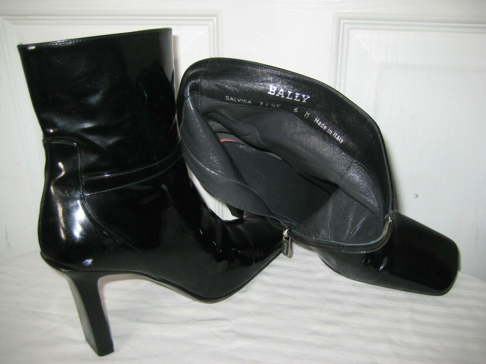 BALLY BALLY BALLY Black Patent Leather Ankle Boots shoes Women's Sz 36.5   6 Made In ITALY.. 9209bc