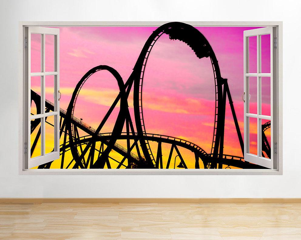 C646 Funfair Sunset Rollercoaster fenêtre  Autocollant Chambre 3D Vinyle enfants