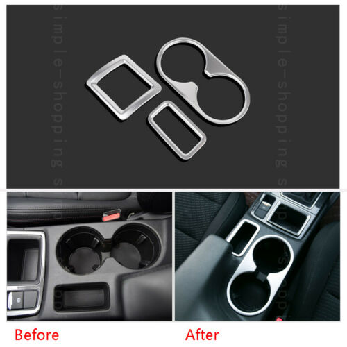3pcs For Mazda CX-5 CX5 2016 Chrome Interior Water Cup Holder Frame Cover Trim
