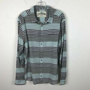 Mens-Life-is-Good-Shirt-Size-M-Striped-Gray-Seafoam-Green-Gauzy-Cotton-Long-Slv