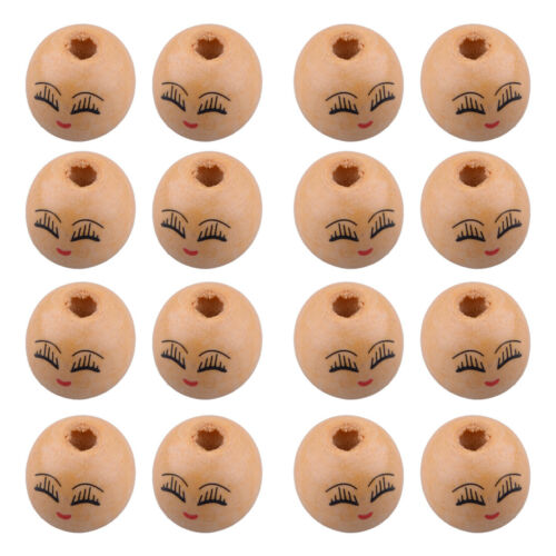 20pcs Wooden Round Painted Smile Face /& Eyebrows Loose Beads Craft Charms 18mm