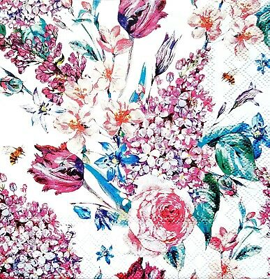 for Decoupage Decopatch Lunch Roses 4 4 x Single Vintage Table Paper Napkins