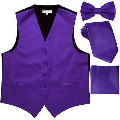 New Men's tuxedo Vest Waistcoat With Necktie, Bowtie & Hankie Set Purple formal