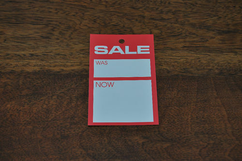 100 /'SALE WAS//NOW/' PRICING TAGS 114MM X 70MM HANGER TICKETS