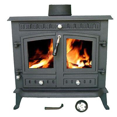 WoodBurner NEW Cast Iron Log Burner MultiFuel Wood Burning 13kw Stove JA032