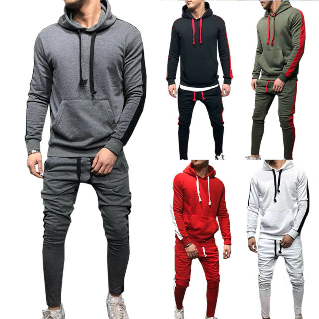 Mens Tracksuit Sport Gym Fitness Hoodies Hooded Tops Skinny Pants Joggers Winter