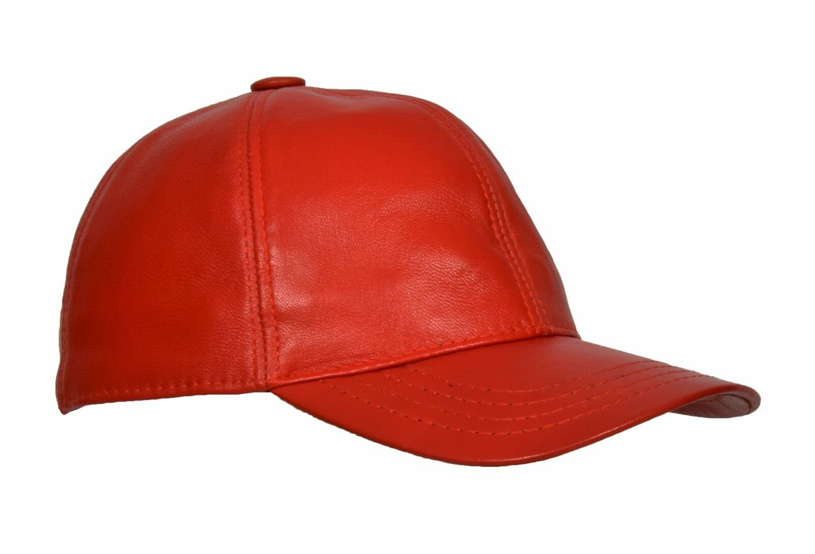 High Quality Real Red Leather Baseball Cap Velcro Fastening One Size ... 600046eb616