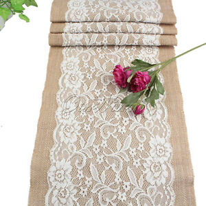 Rustic Burlap Lace Hessian Table Runner Wedding Banquet Party Home ...