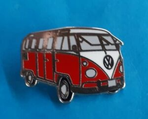 Emaillierter VW Bully - Pin  Rot / Weiß