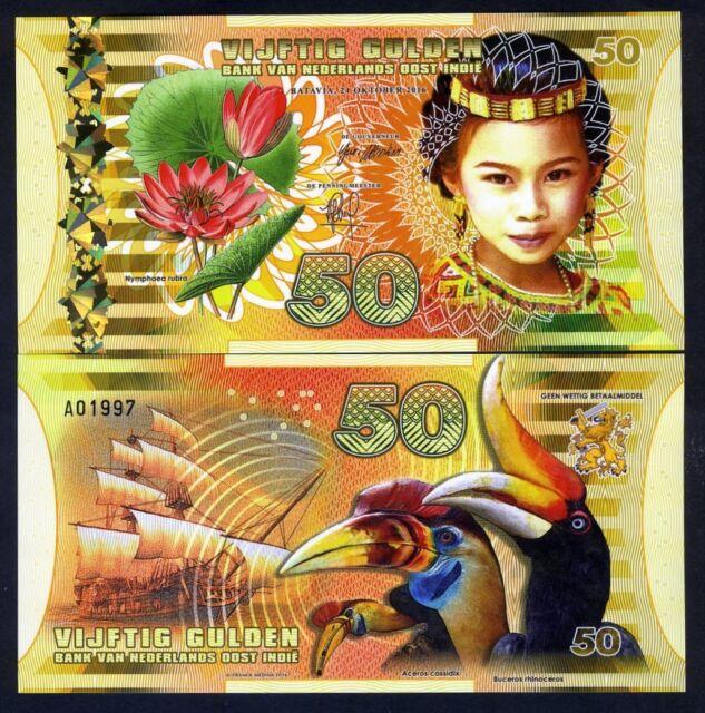 netherlands east indies (indonesia) 50 gulden 2016 polymer unc girl