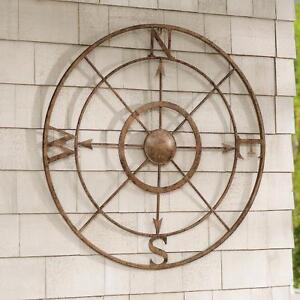 32 Antiqued Bronze Iron Metal Coastal Compass Wall Art Outdoor