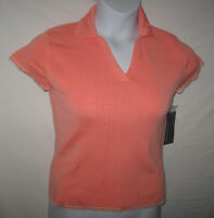 Hillard & Hanson Womens Knit Top Sz Large Bright Peach V-neck With Collar