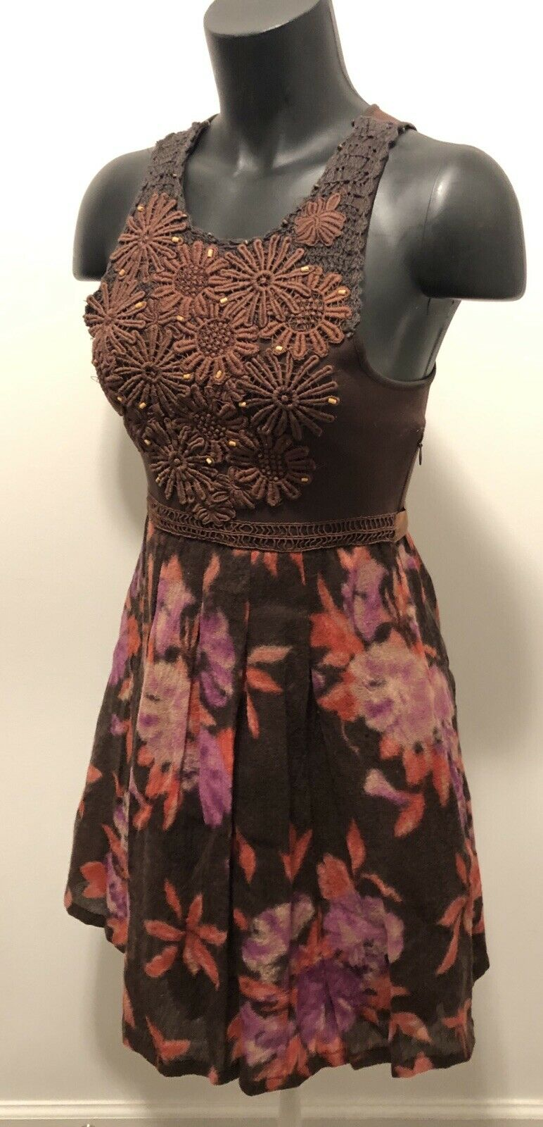 Free People s p braun Stretch Embroiderot Tank Dress Lined Wool Floral Skirt EUC