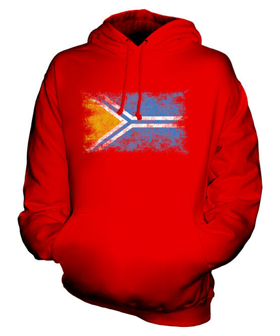 TUVA DISTRESSED FLAG UNISEX HOODIE TOP FOOTBALL GIFT  CLOTHING JERSEY