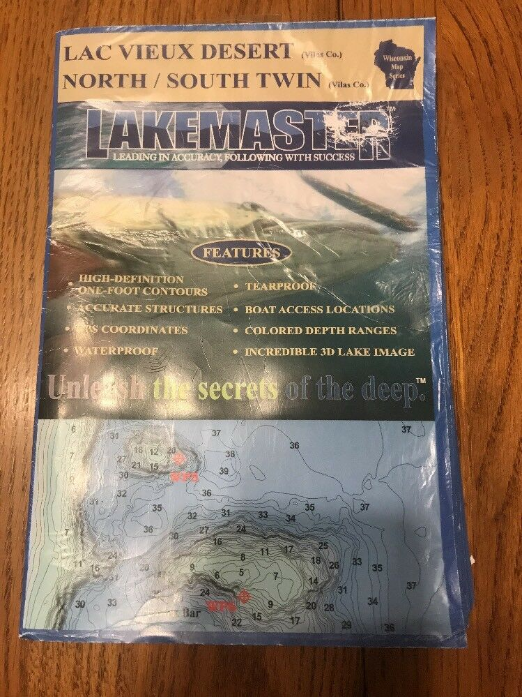Lac Vieux Desert North South Twin LAKEMASTER Wisconsin map Series Ships N 24h