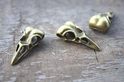 Zodiac Charm 10x15x32mm 5pcs of Antique silver Bird Skull Head charms pendants