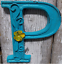 """Blue Cast Iron Wall Letter /""""P/"""" Retro Art 6/"""" Vintage Style Marquee"""