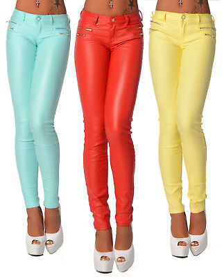 Vornehm Sexy Women's Skinny Jeans Trousers Summer Leggings Hipsters Faux Wet Look J 114