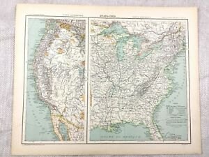 Details about 1894 Antique Map of The United States of America East West  19th Century French