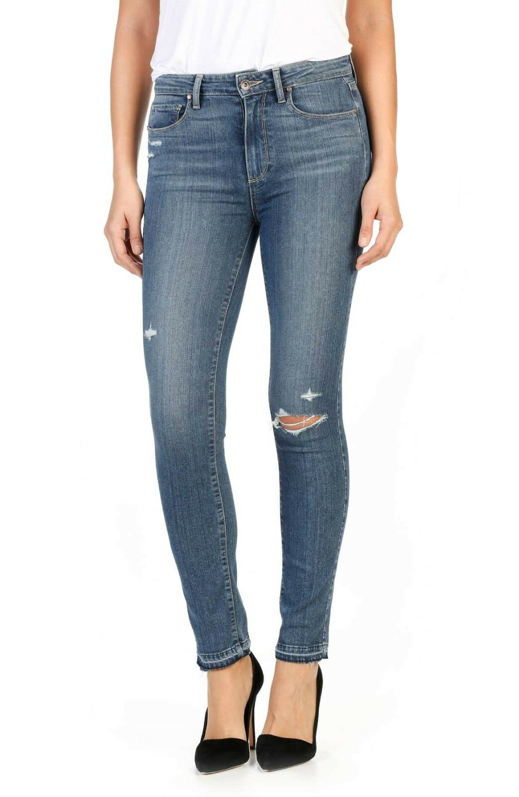 Paige Hoxton High Waist Ankle Peg Skinny Jeans Lexi Destructed Blau 29