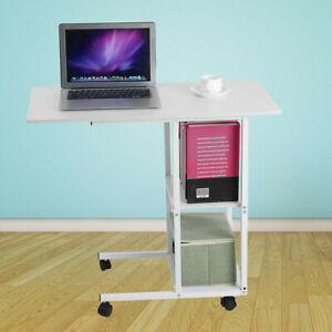 Details About Mobile Computer Trolley Desk Table Over Bed Sofa Laptop Storage Cart Wheels