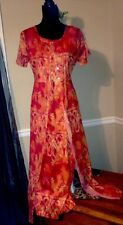 2 Piece Long Dress Set Beautiful  UNIQUE Exotic Sunny Orange Print Sz 8