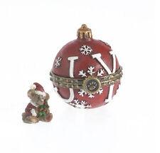 Boyds Bears Joy's Christmas Ornament Trinket Box w/Spruce McNibble ~ 4034148