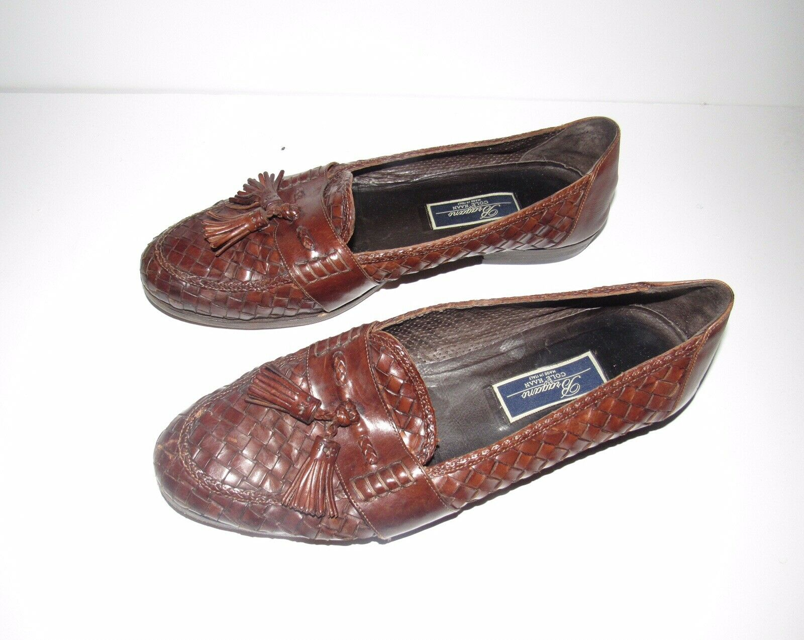 Bragano marrón Woven Weaved Leather Tassels Loafers zapatos Mens Talla 12 M