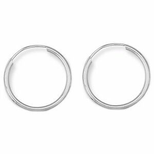Details About 14k Real White Gold Baby Hoops Endless Hoop Earrings New 10mm