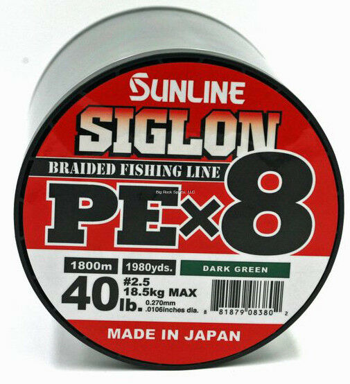 SUNLINE SIGLON PEX8 8-STRAND BRAIDED LINE, DARK GREEN, 1968 YD, 40LB, TIGHT WEAV