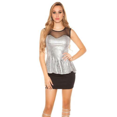 Ärmelloses Damen Glamour Shirt in Metallic-Look Silber 34//36//38 #S1217