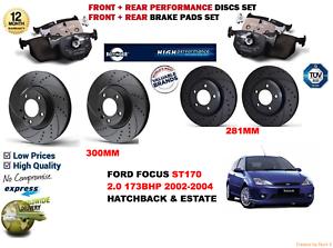 Para-Ford-Focus-ST170-02-04-Delantero-Trasero-Rendimiento-Discos-de-Freno