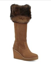be328bb04c7 UGG Australia Valberg Fur Cuff Chestnut Suede Knee High Wedge Tall ...