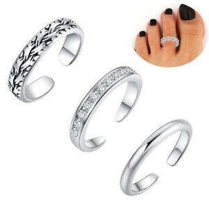 3Stueck-Retro-Silber-Verstellbarer-Offener-Zehenring-Finger-Fussring-Sommerschmuck
