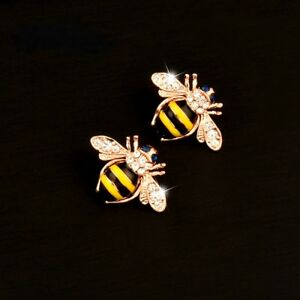 d56ccb9b3dde8 Details about Betsey Johnson Rose Gold Plated Yellow Black Striped Bee Stud  Earrings