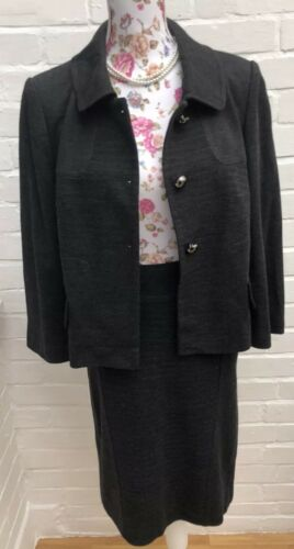 pezzi 2 Suit Workwear Size Outfit Grey 12 s M Business Skirt 14 Formal UAgPU7x