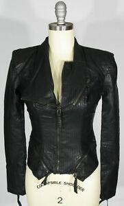 BLANK-NYC-Size-S-Pointed-Hem-Top-Stitched-Black-Vegan-Leather-Blazer-Jacket-NWT