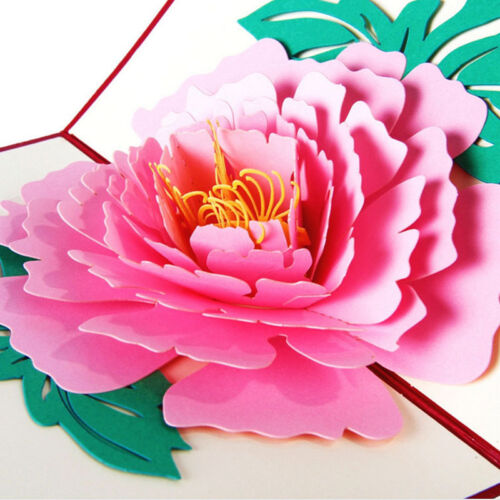 3D Pop Up Greeting Cards Peony Birthday Valentine Mother/'s Day Christmas Thanks