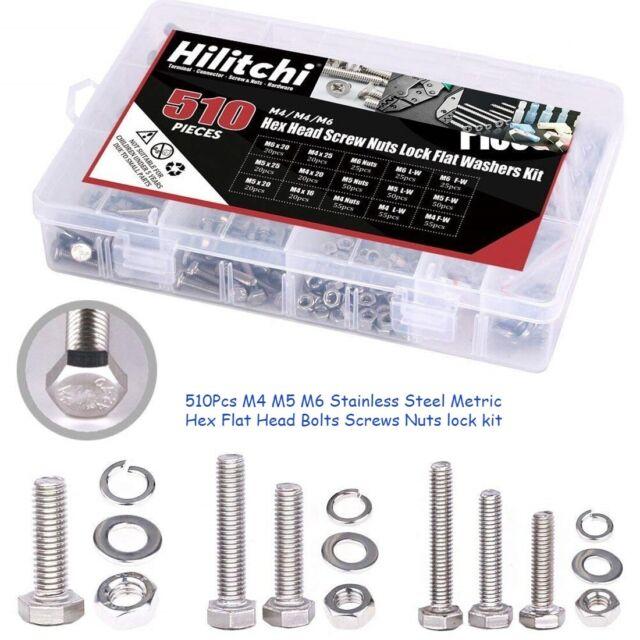 280Pcs Steel Screw Set M3 Hex Bolt Screw Nut Metric Machine Bolts And Nut R