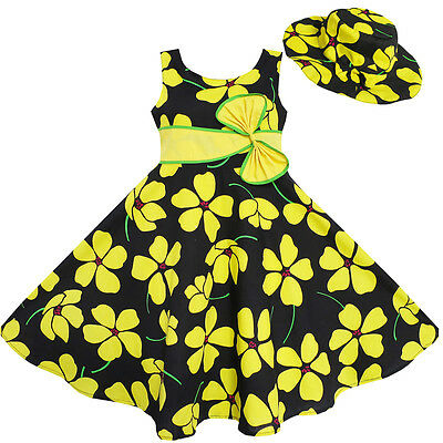Sunny Fashion 2 Pecs Girls Dress Sun Hat Bow Tie Yellow Summer Beach 4-12