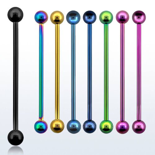"""1pc 14GA 1/"""" to 1-1//2/"""" Titanium Anodized 316L Surgical Steel Industrial Barbell"""