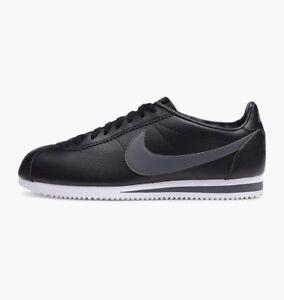 Nike Classic Cortez Leather Mens Sneakers Black Dark Grey White 749571-011 10'