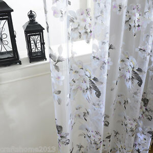 schwarz wei blumen schlaufenschal vorhang gardine. Black Bedroom Furniture Sets. Home Design Ideas