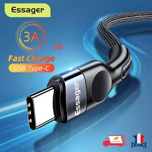 Câble USB Type C Charge Rapide 3A Câble De Données Cordon 2M Nylon Tressé Essage