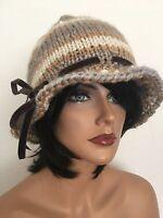 Hand Knits 2 Love Hat Beanie Velvet Ribbon Designer Fashion Female Winter