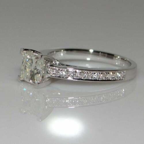 1 Ct Princess Cut Diamond Solitaire Wedding Engagement Ring 14K White Gold GP 1
